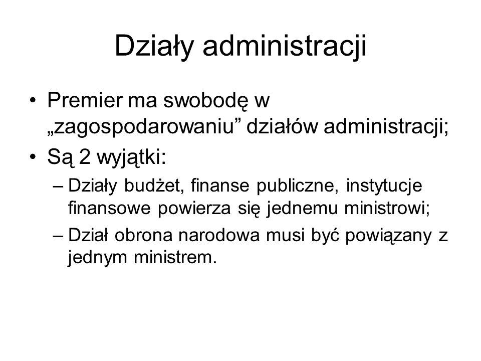 """Działy administracji Premier ma swobodę w """"zagospodarowaniu działów administracji; Są 2 wyjątki:"""