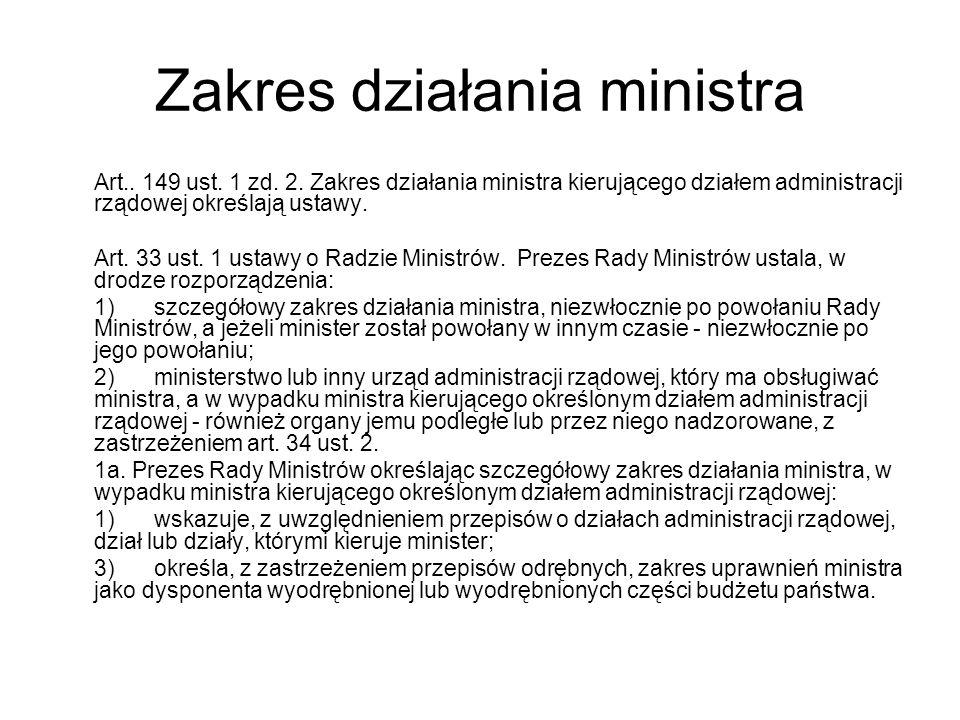 Zakres działania ministra