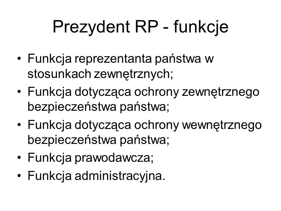 Prezydent RP - funkcje Funkcja reprezentanta państwa w stosunkach zewnętrznych; Funkcja dotycząca ochrony zewnętrznego bezpieczeństwa państwa;
