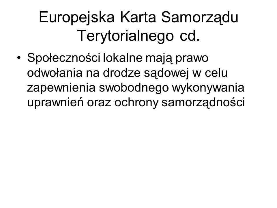 Europejska Karta Samorządu Terytorialnego cd.