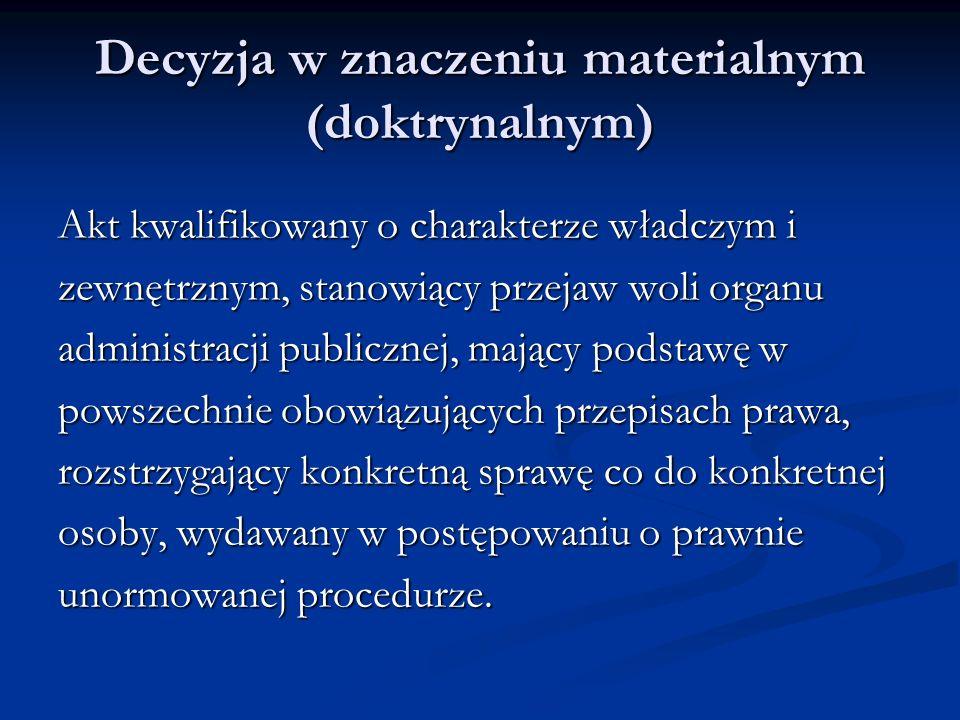 Decyzja w znaczeniu materialnym (doktrynalnym)
