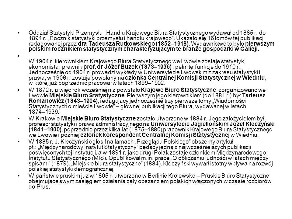"""Oddział Statystyki Przemysłu i Handlu Krajowego Biura Statystycznego wydawał od 1885 r. do 1894 r. """"Rocznik statystyki przemysłu i handlu krajowego . Ukazało się 16 tomów tej publikacji redagowanej przez dra Tadeusza Rutkowskiego (1852–1918). Wydawnictwo to było pierwszym polskim rocznikiem statystycznym charakteryzującym te branże gospodarki w Galicji."""