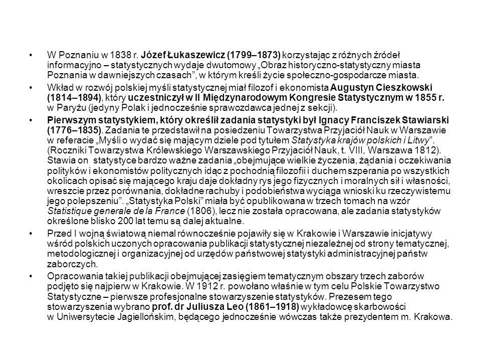 """W Poznaniu w 1838 r. Józef Łukaszewicz (1799–1873) korzystając z różnych źródeł informacyjno – statystycznych wydaje dwutomowy """"Obraz historyczno-statystyczny miasta Poznania w dawniejszych czasach , w którym kreśli życie społeczno-gospodarcze miasta."""