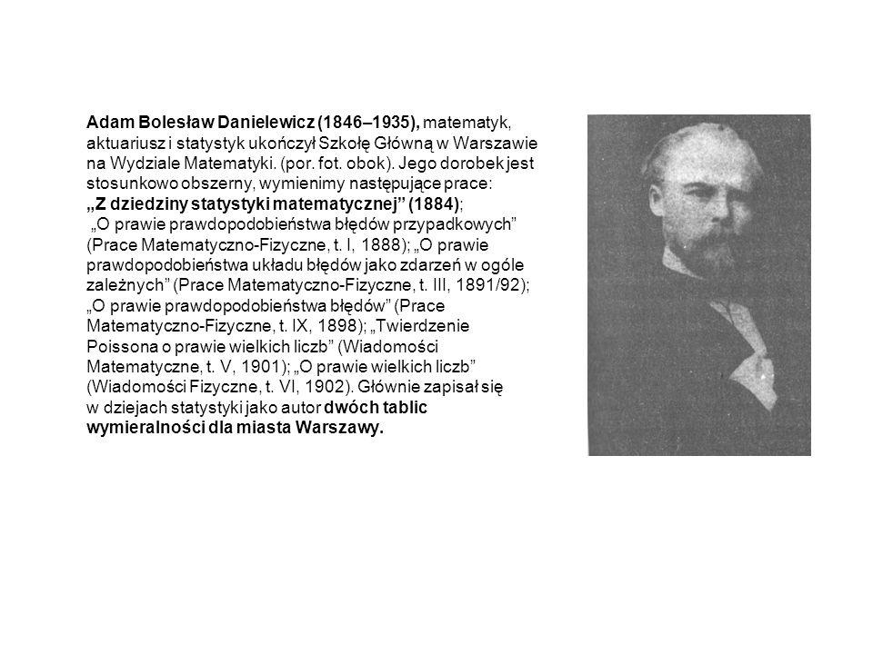 Adam Bolesław Danielewicz (1846–1935), matematyk, aktuariusz i statystyk ukończył Szkołę Główną w Warszawie na Wydziale Matematyki.