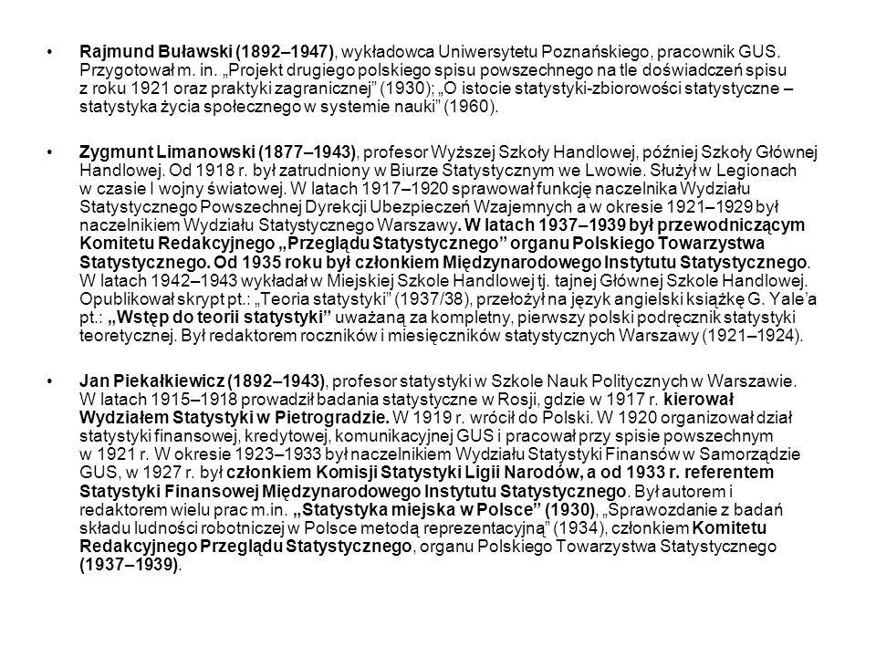 """Rajmund Buławski (1892–1947), wykładowca Uniwersytetu Poznańskiego, pracownik GUS. Przygotował m. in. """"Projekt drugiego polskiego spisu powszechnego na tle doświadczeń spisu z roku 1921 oraz praktyki zagranicznej (1930); """"O istocie statystyki-zbiorowości statystyczne – statystyka życia społecznego w systemie nauki (1960)."""