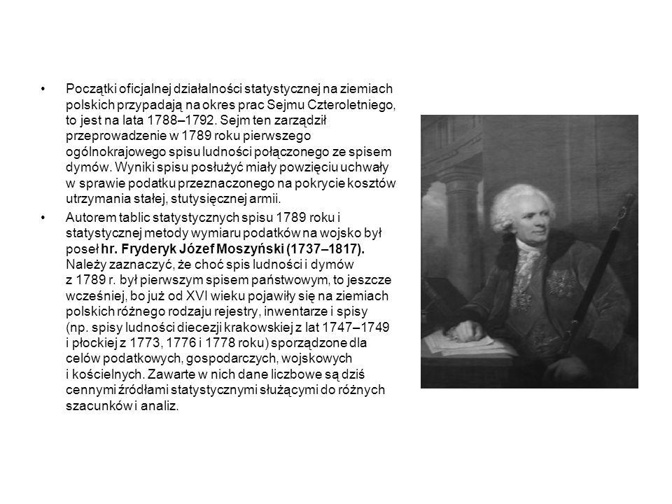 Początki oficjalnej działalności statystycznej na ziemiach polskich przypadają na okres prac Sejmu Czteroletniego, to jest na lata 1788–1792. Sejm ten zarządził przeprowadzenie w 1789 roku pierwszego ogólnokrajowego spisu ludności połączonego ze spisem dymów. Wyniki spisu posłużyć miały powzięciu uchwały w sprawie podatku przeznaczonego na pokrycie kosztów utrzymania stałej, stutysięcznej armii.