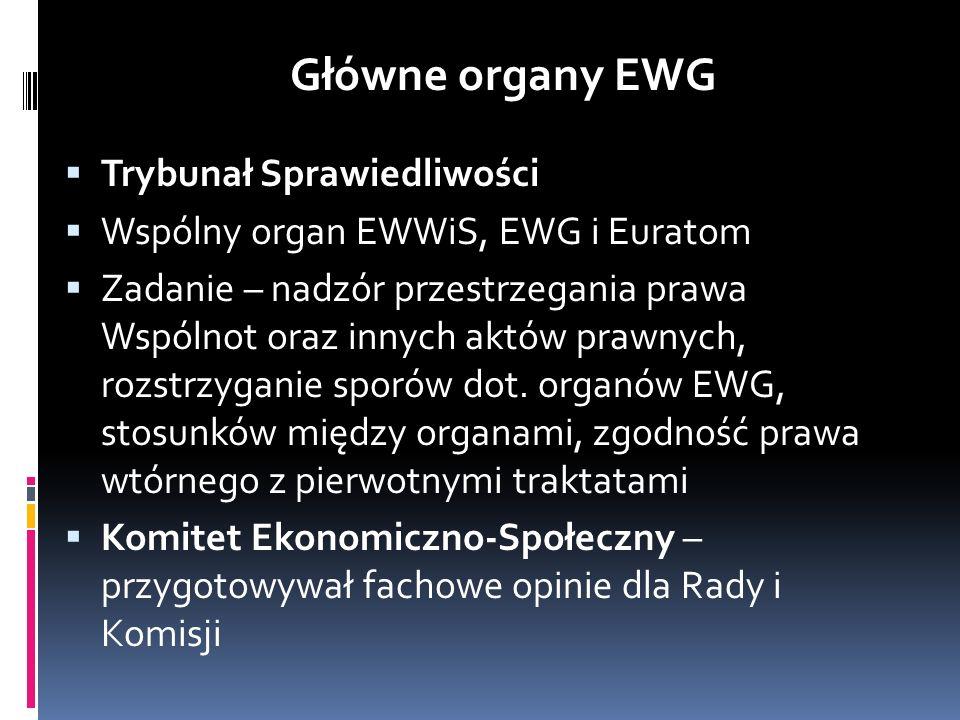 Główne organy EWG Trybunał Sprawiedliwości