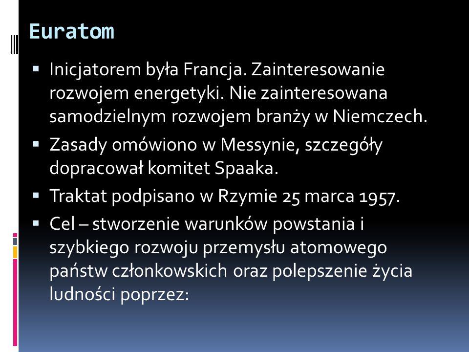 Euratom Inicjatorem była Francja. Zainteresowanie rozwojem energetyki. Nie zainteresowana samodzielnym rozwojem branży w Niemczech.