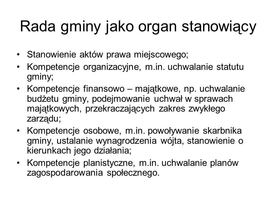 Rada gminy jako organ stanowiący