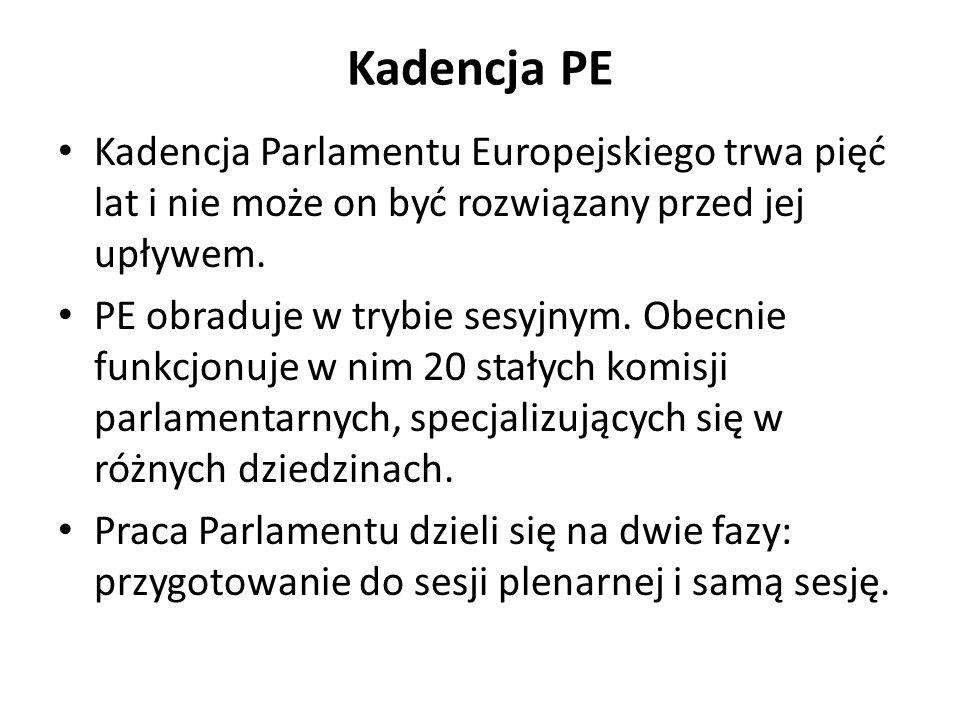 Kadencja PE Kadencja Parlamentu Europejskiego trwa pięć lat i nie może on być rozwiązany przed jej upływem.