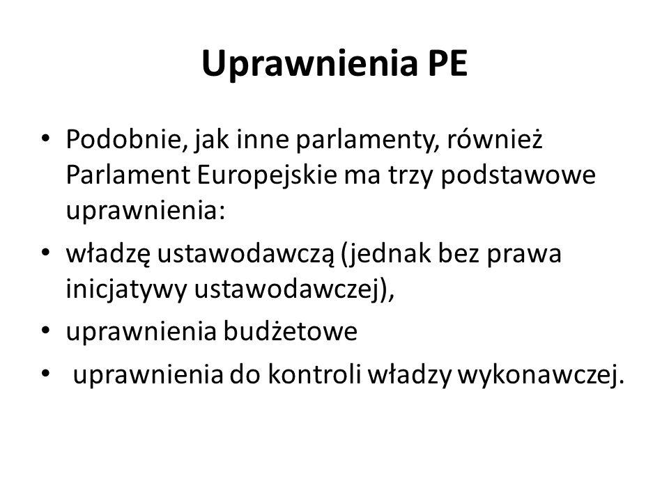 Uprawnienia PE Podobnie, jak inne parlamenty, również Parlament Europejskie ma trzy podstawowe uprawnienia: