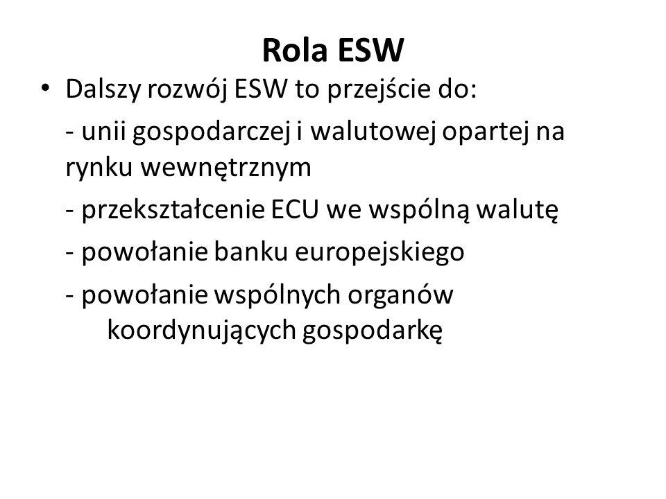 Rola ESW Dalszy rozwój ESW to przejście do: