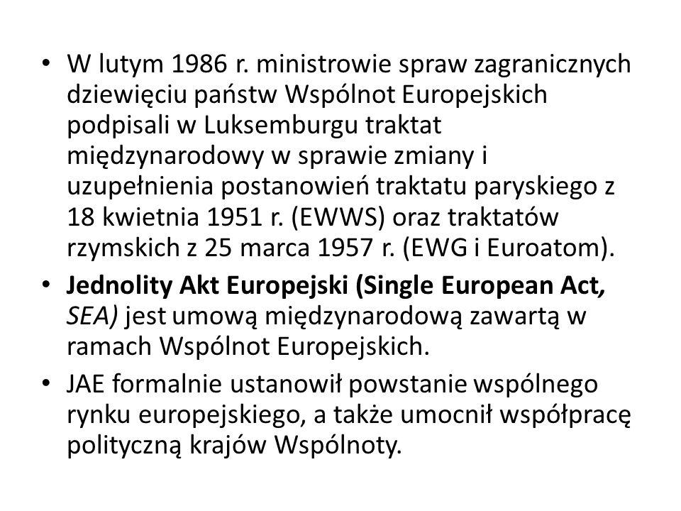 W lutym 1986 r. ministrowie spraw zagranicznych dziewięciu państw Wspólnot Europejskich podpisali w Luksemburgu traktat międzynarodowy w sprawie zmiany i uzupełnienia postanowień traktatu paryskiego z 18 kwietnia 1951 r. (EWWS) oraz traktatów rzymskich z 25 marca 1957 r. (EWG i Euroatom).