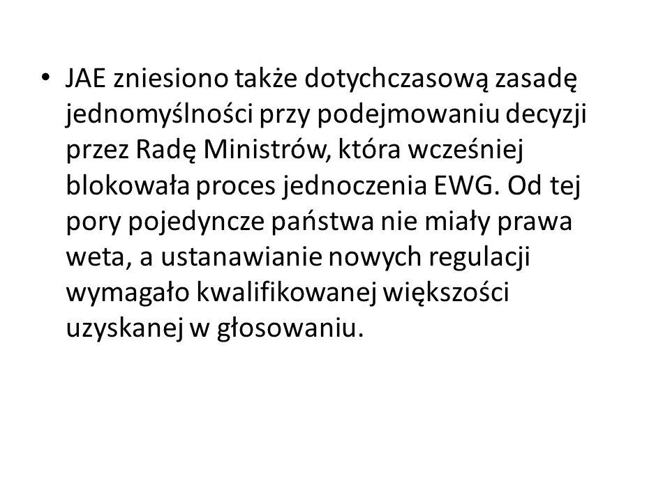 JAE zniesiono także dotychczasową zasadę jednomyślności przy podejmowaniu decyzji przez Radę Ministrów, która wcześniej blokowała proces jednoczenia EWG.