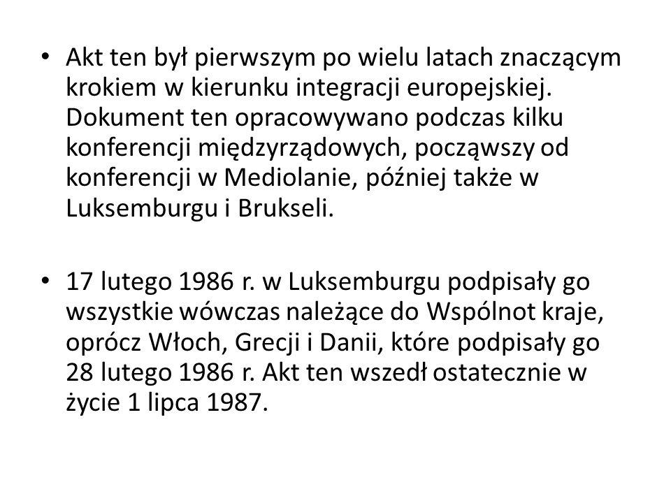 Akt ten był pierwszym po wielu latach znaczącym krokiem w kierunku integracji europejskiej. Dokument ten opracowywano podczas kilku konferencji międzyrządowych, począwszy od konferencji w Mediolanie, później także w Luksemburgu i Brukseli.