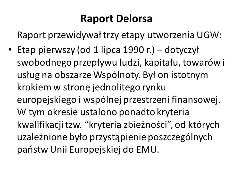 Raport Delorsa Raport przewidywał trzy etapy utworzenia UGW: