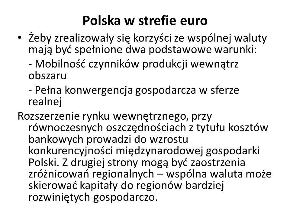 Polska w strefie euro Żeby zrealizowały się korzyści ze wspólnej waluty mają być spełnione dwa podstawowe warunki: