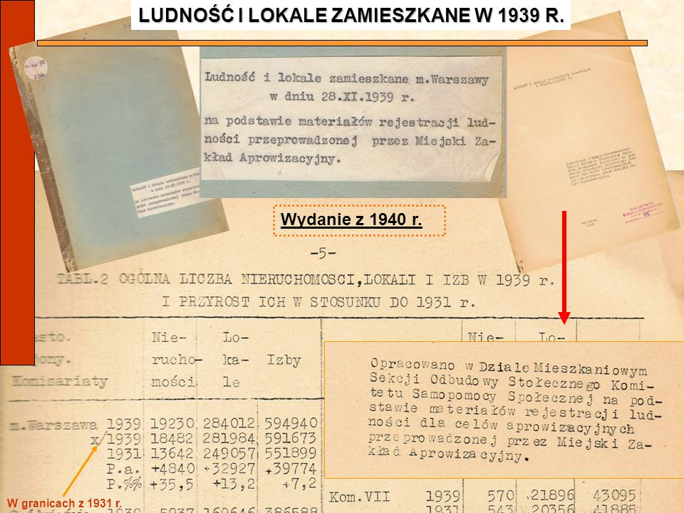 LUDNOŚĆ I LOKALE ZAMIESZKANE W 1939 R.