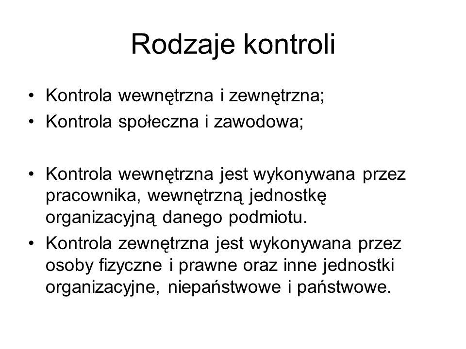 Rodzaje kontroli Kontrola wewnętrzna i zewnętrzna;