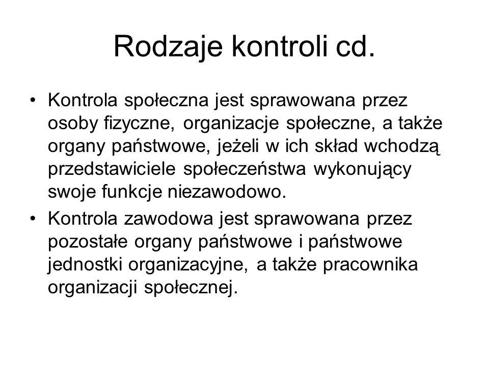 Rodzaje kontroli cd.