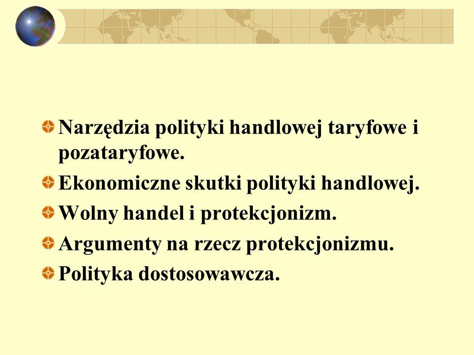 Narzędzia polityki handlowej taryfowe i pozataryfowe.