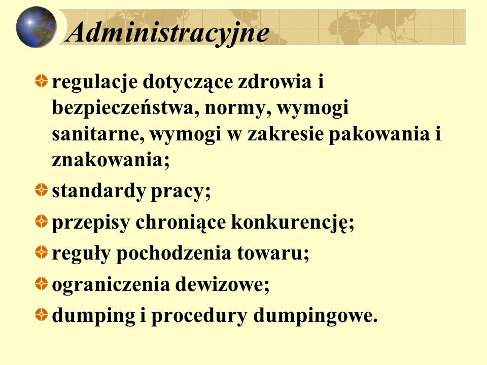 Administracyjne regulacje dotyczące zdrowia i bezpieczeństwa, normy, wymogi sanitarne, wymogi w zakresie pakowania i znakowania;