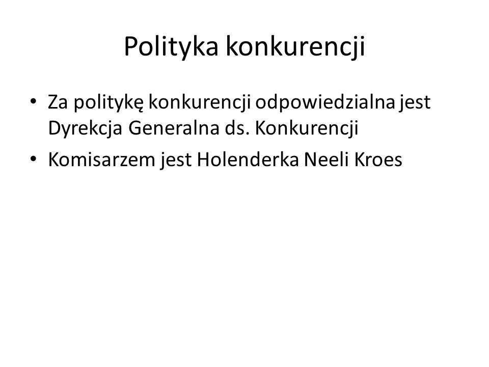 Polityka konkurencji Za politykę konkurencji odpowiedzialna jest Dyrekcja Generalna ds. Konkurencji.