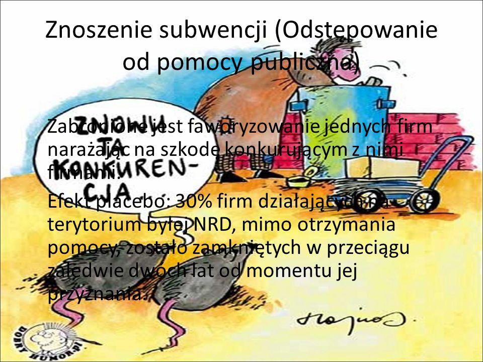 Znoszenie subwencji (Odstępowanie od pomocy publiczna)