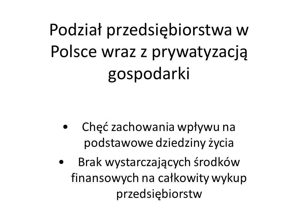 Podział przedsiębiorstwa w Polsce wraz z prywatyzacją gospodarki