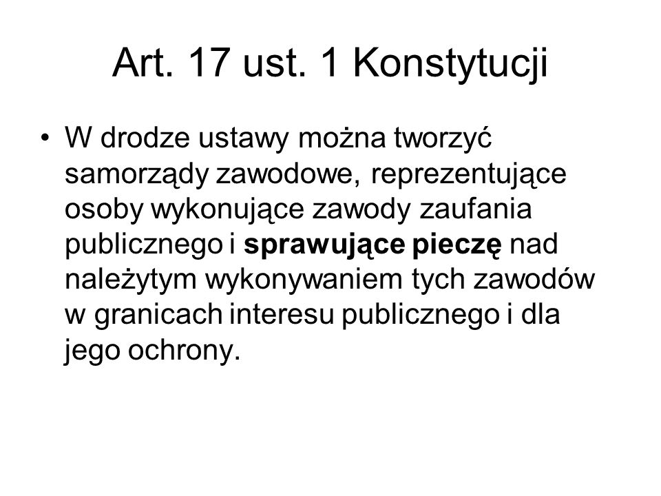 Art. 17 ust. 1 Konstytucji