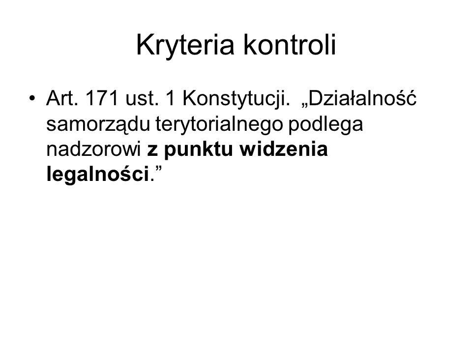 Kryteria kontroli Art. 171 ust.