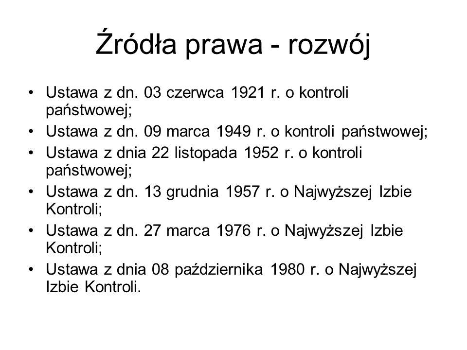 Źródła prawa - rozwój Ustawa z dn. 03 czerwca 1921 r. o kontroli państwowej; Ustawa z dn. 09 marca 1949 r. o kontroli państwowej;