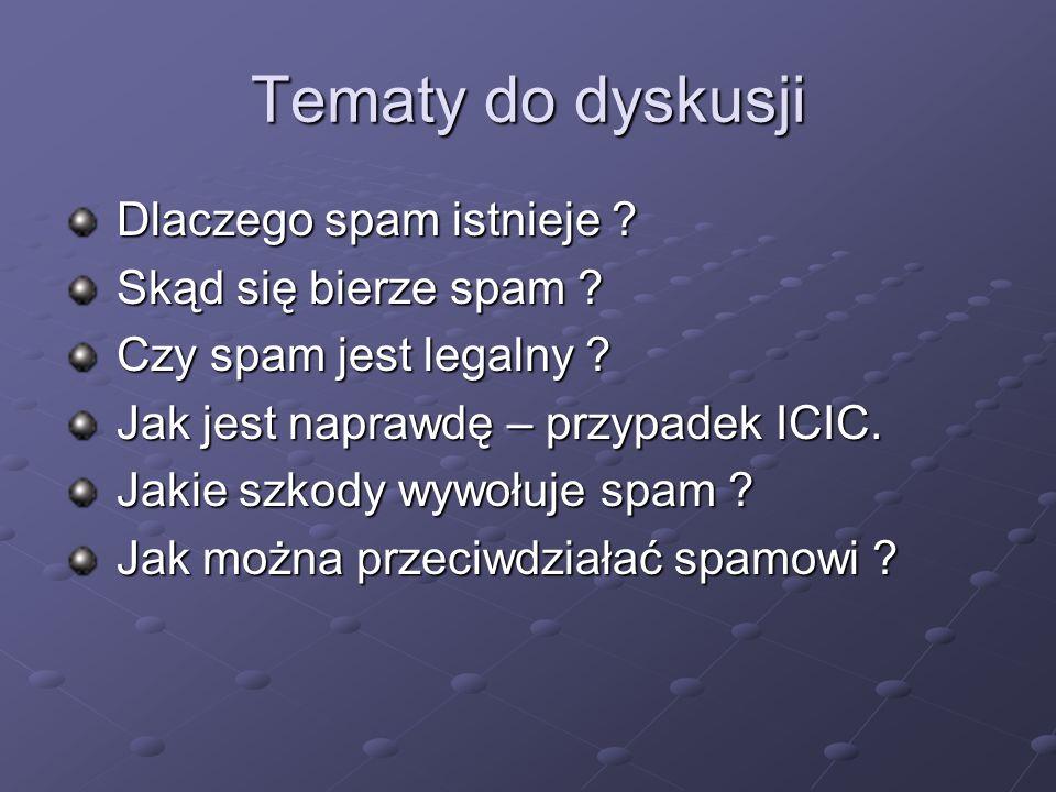 Tematy do dyskusji Dlaczego spam istnieje Skąd się bierze spam