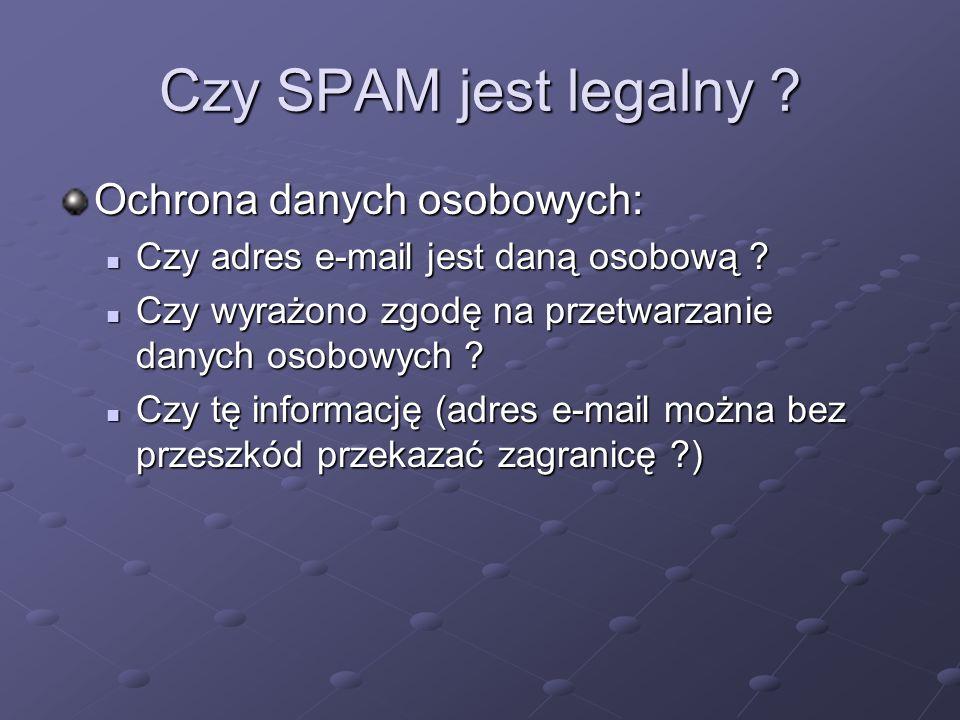 Czy SPAM jest legalny Ochrona danych osobowych: