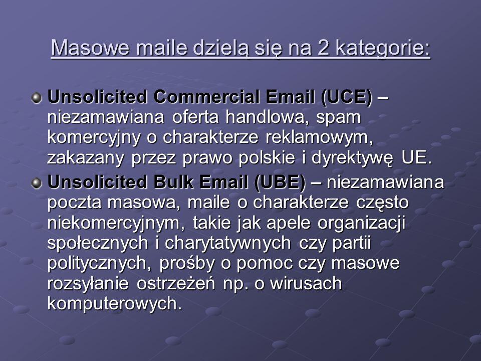 Masowe maile dzielą się na 2 kategorie: