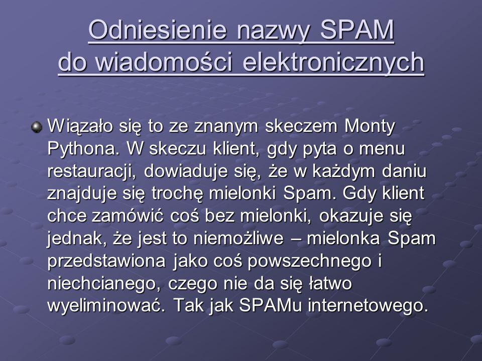 Odniesienie nazwy SPAM do wiadomości elektronicznych