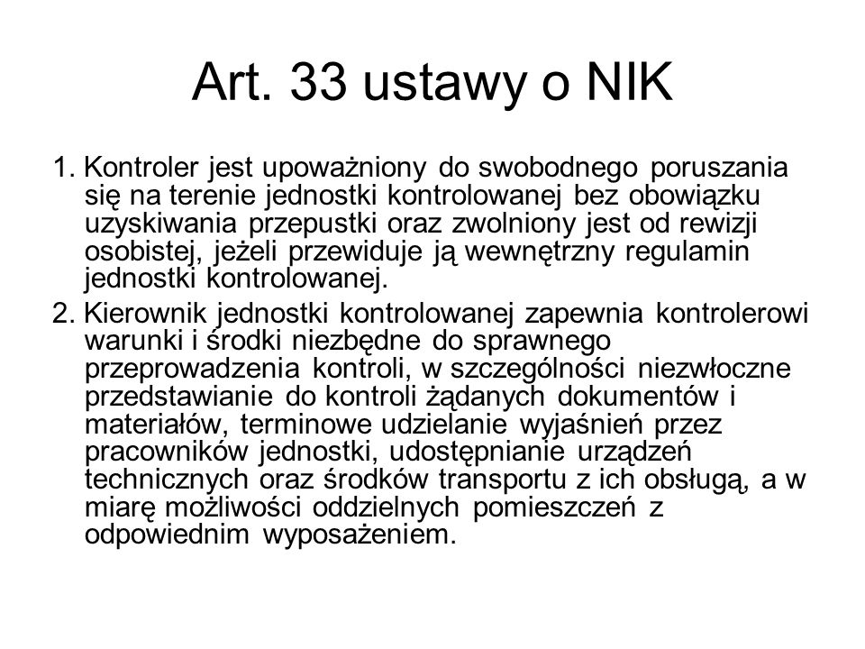 Art. 33 ustawy o NIK