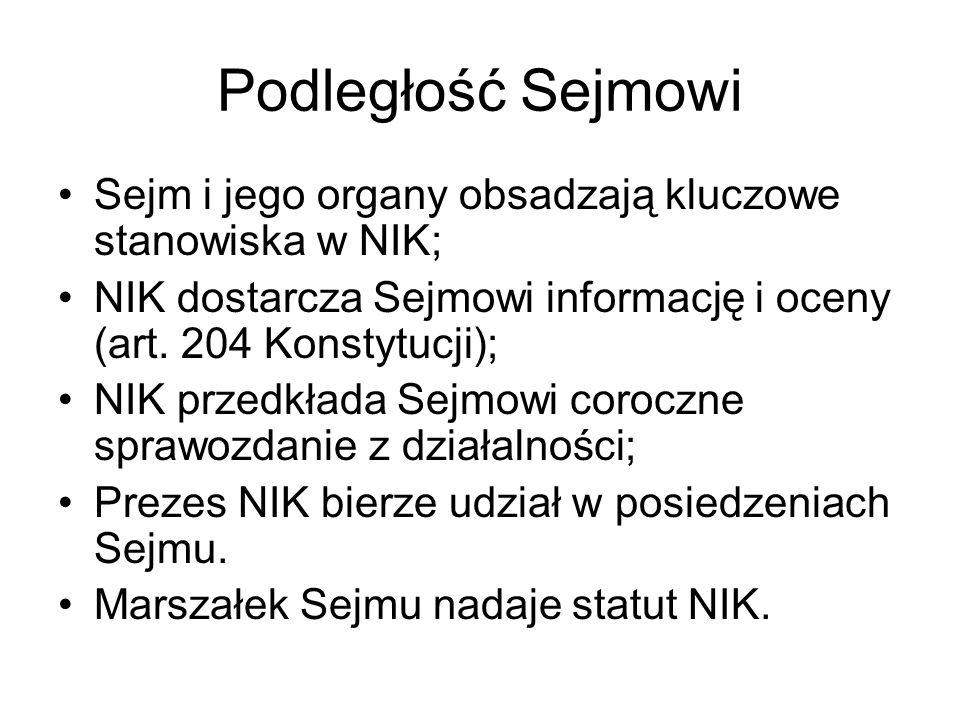 Podległość SejmowiSejm i jego organy obsadzają kluczowe stanowiska w NIK; NIK dostarcza Sejmowi informację i oceny (art. 204 Konstytucji);