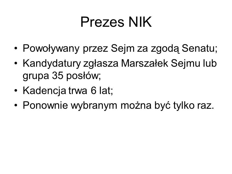Prezes NIK Powoływany przez Sejm za zgodą Senatu;