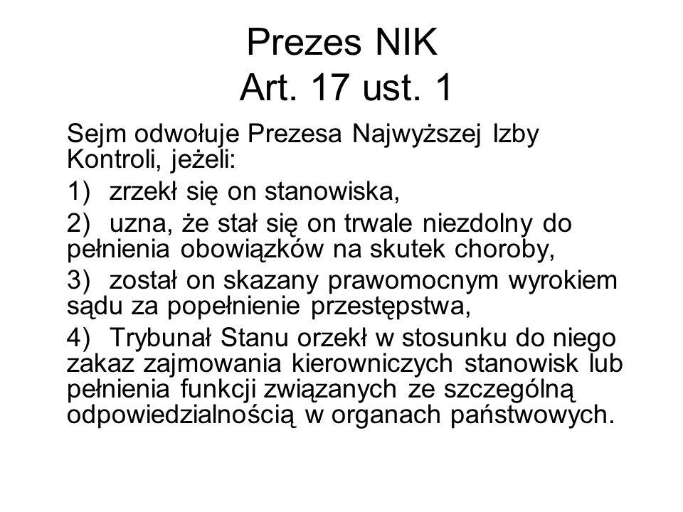 Prezes NIK Art. 17 ust. 1 Sejm odwołuje Prezesa Najwyższej Izby Kontroli, jeżeli: 1) zrzekł się on stanowiska,