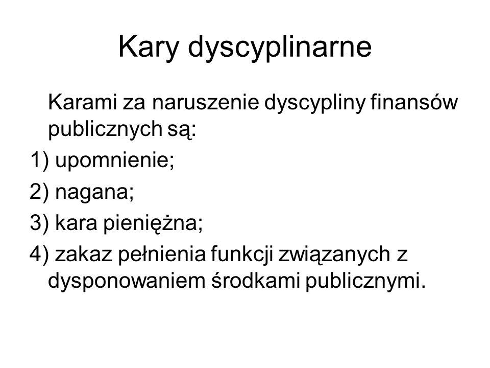 Kary dyscyplinarne Karami za naruszenie dyscypliny finansów publicznych są: 1) upomnienie; 2) nagana;