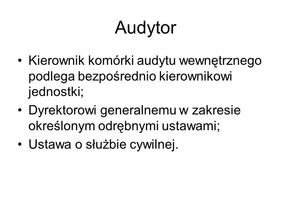 Audytor Kierownik komórki audytu wewnętrznego podlega bezpośrednio kierownikowi jednostki;