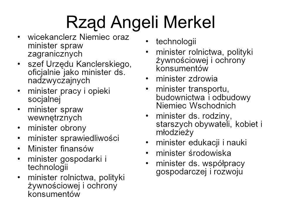 Rząd Angeli Merkel wicekanclerz Niemiec oraz minister spraw zagranicznych. szef Urzędu Kanclerskiego, oficjalnie jako minister ds. nadzwyczajnych.