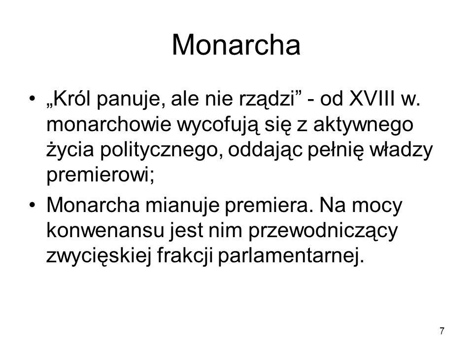 """Monarcha """"Król panuje, ale nie rządzi - od XVIII w. monarchowie wycofują się z aktywnego życia politycznego, oddając pełnię władzy premierowi;"""