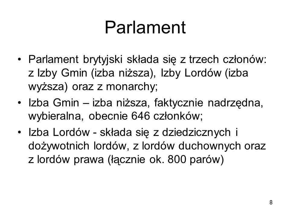 Parlament Parlament brytyjski składa się z trzech członów: z Izby Gmin (izba niższa), Izby Lordów (izba wyższa) oraz z monarchy;