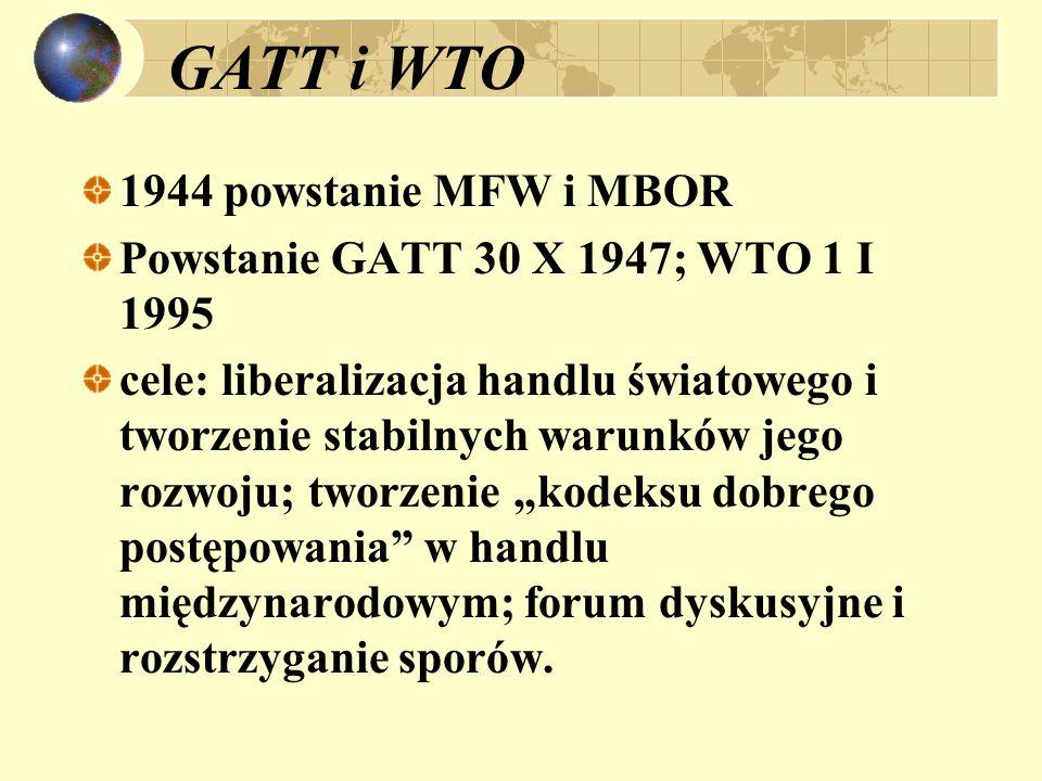 GATT i WTO 1944 powstanie MFW i MBOR