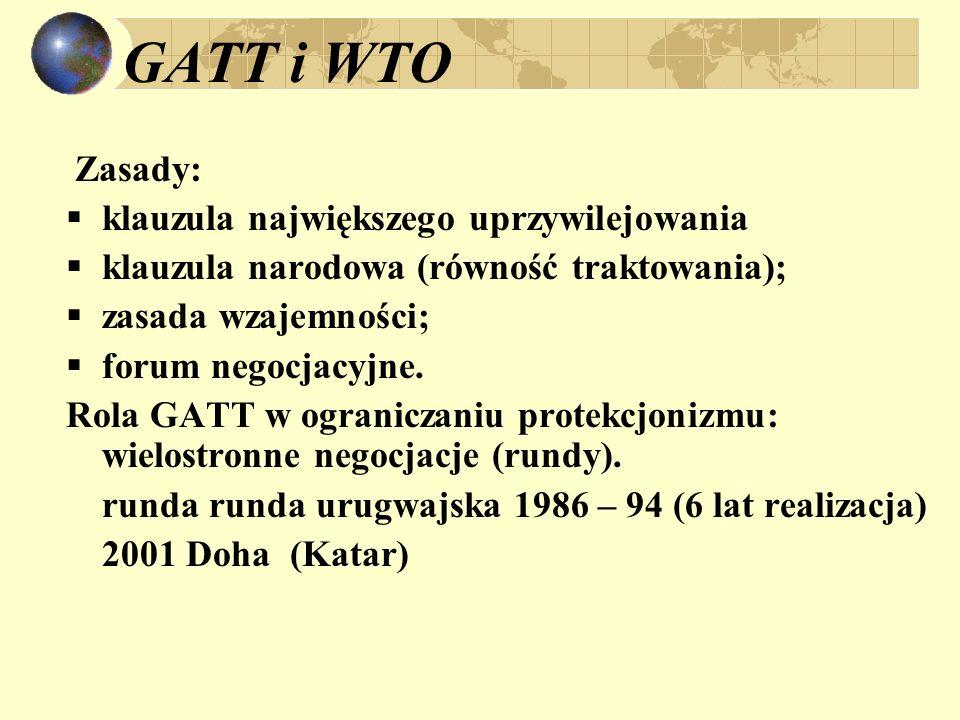 GATT i WTO Zasady: klauzula największego uprzywilejowania