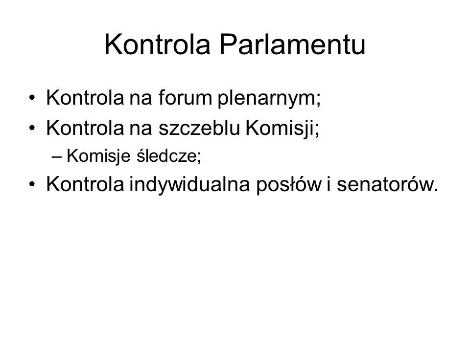 Kontrola Parlamentu Kontrola na forum plenarnym;