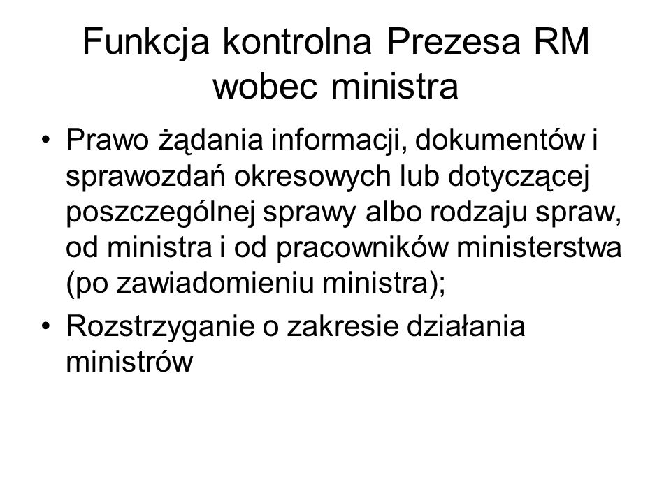 Funkcja kontrolna Prezesa RM wobec ministra