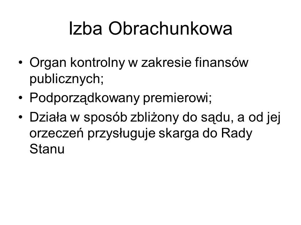 Izba Obrachunkowa Organ kontrolny w zakresie finansów publicznych;